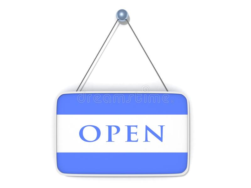 Open Sign Blue Plate On White Stock Photo