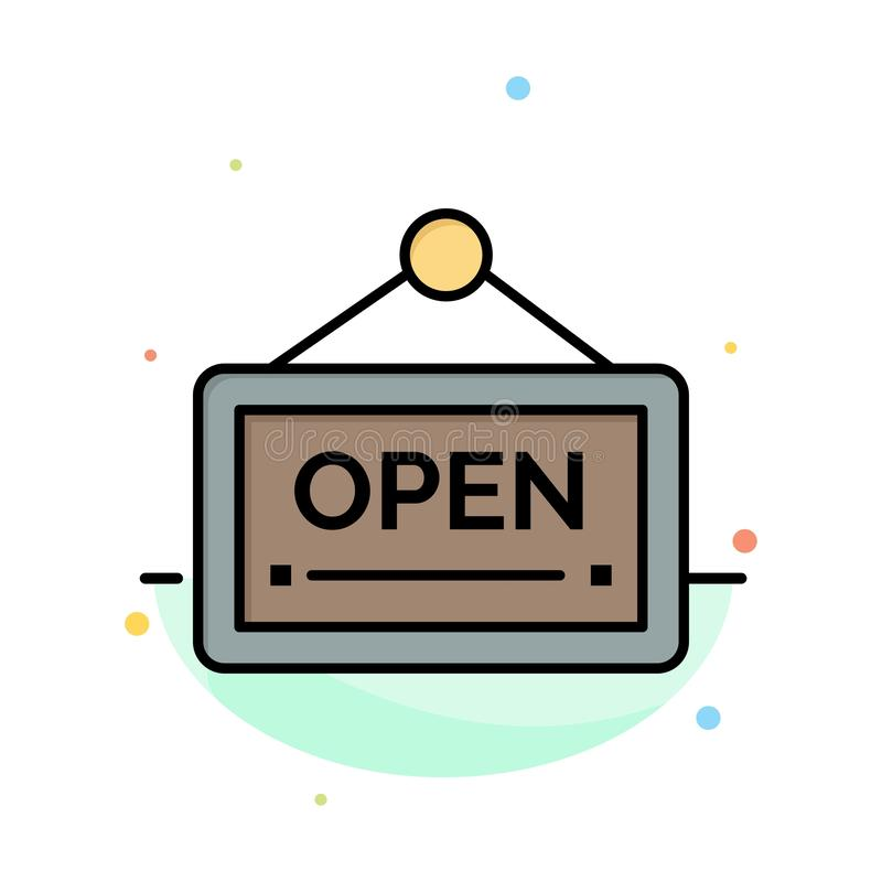 Open, Sign, Board, Hotel Abstract Flat Color Icon Template royalty free illustration