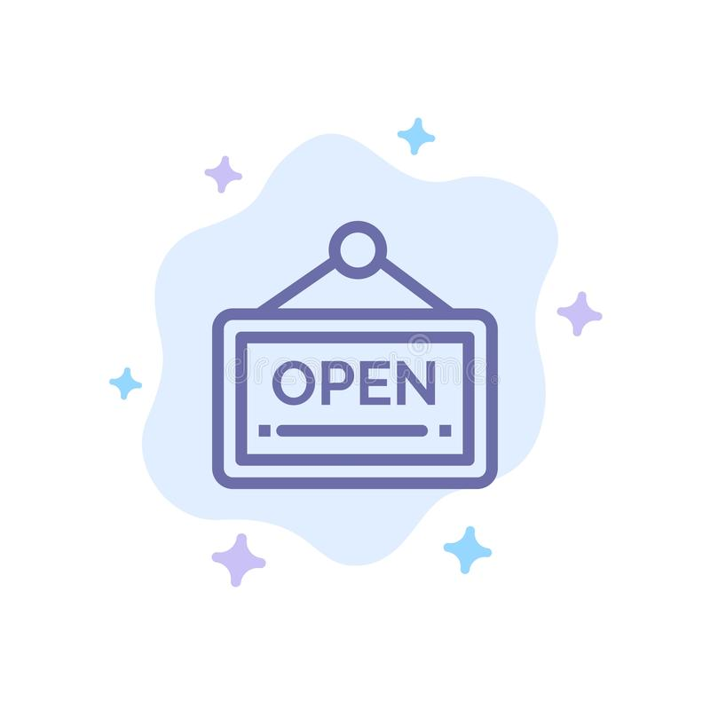Open, Sign, Board, Hotel Blue Icon on Abstract Cloud Background royalty free illustration