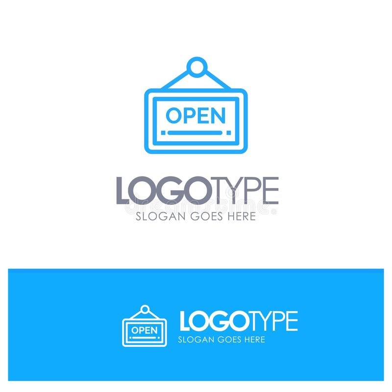 Open, Sign, Board, Hotel Blue Outline Logo Place for Tagline stock illustration