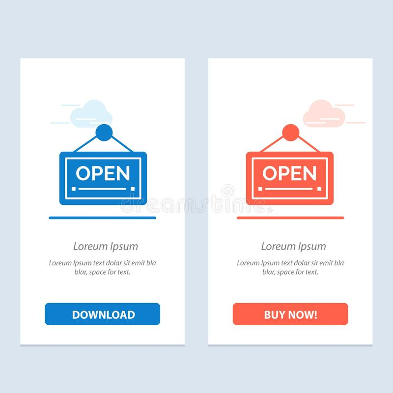 Open, Sign, Board, Hotel  Blue and Red Download and Buy Now web Widget Card Template royalty free illustration