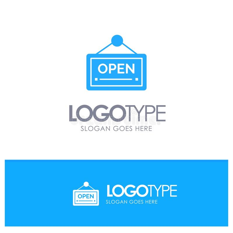 Open, Sign, Board, Hotel Blue Solid Logo with place for tagline vector illustration