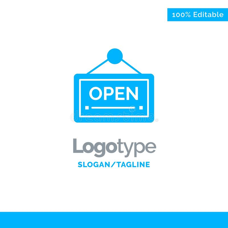 Open, Sign, Board, Hotel Blue Solid Logo Template. Place for Tagline vector illustration
