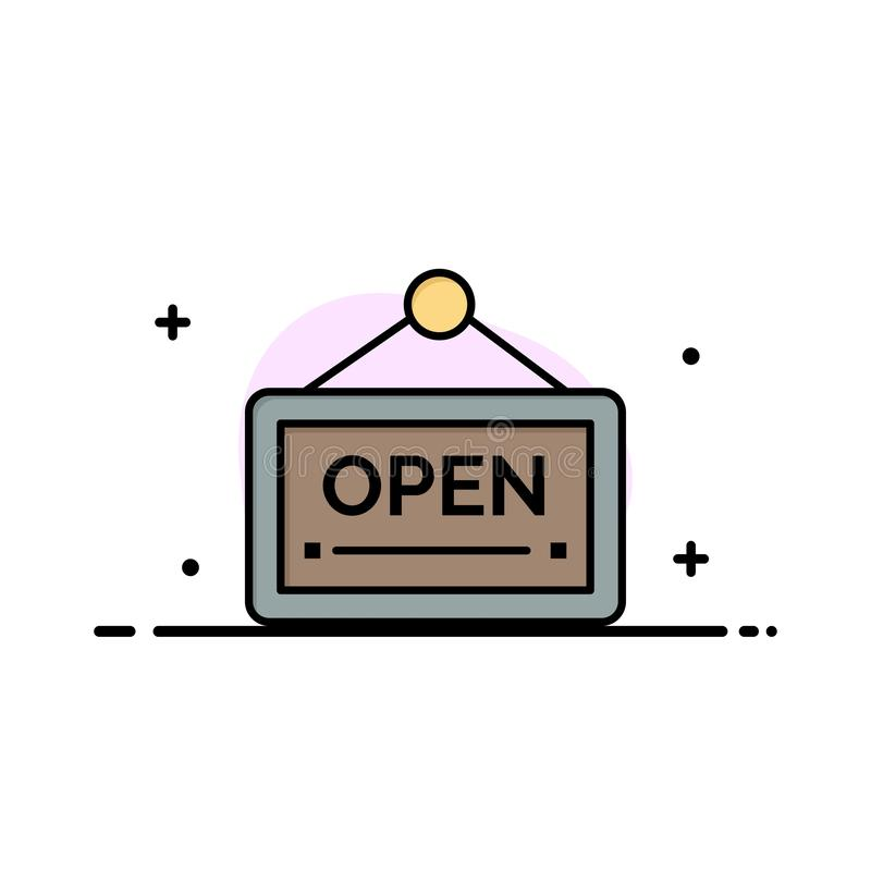 Open, Sign, Board, Hotel  Business Flat Line Filled Icon Vector Banner Template royalty free illustration