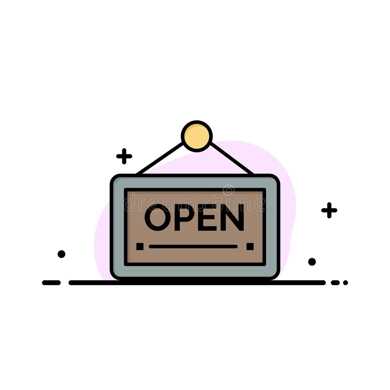 Open, Sign, Board, Hotel Business Logo Template. Flat Color royalty free illustration