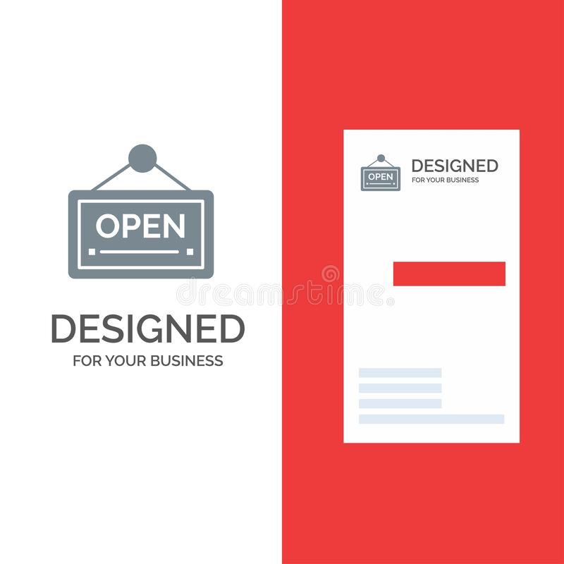 Open, Sign, Board, Hotel Grey Logo Design and Business Card Template royalty free illustration