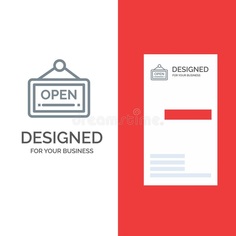 Open, Sign, Board, Hotel Grey Logo Design and Business Card Template vector illustration