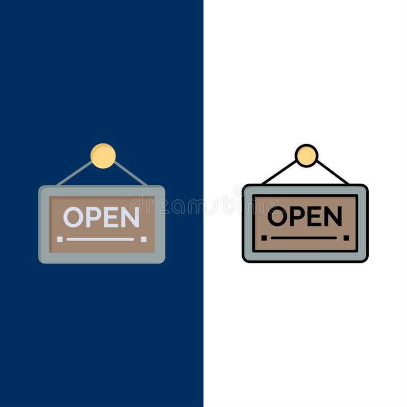 Open, Sign, Board, Hotel  Icons. Flat and Line Filled Icon Set Vector Blue Background royalty free illustration