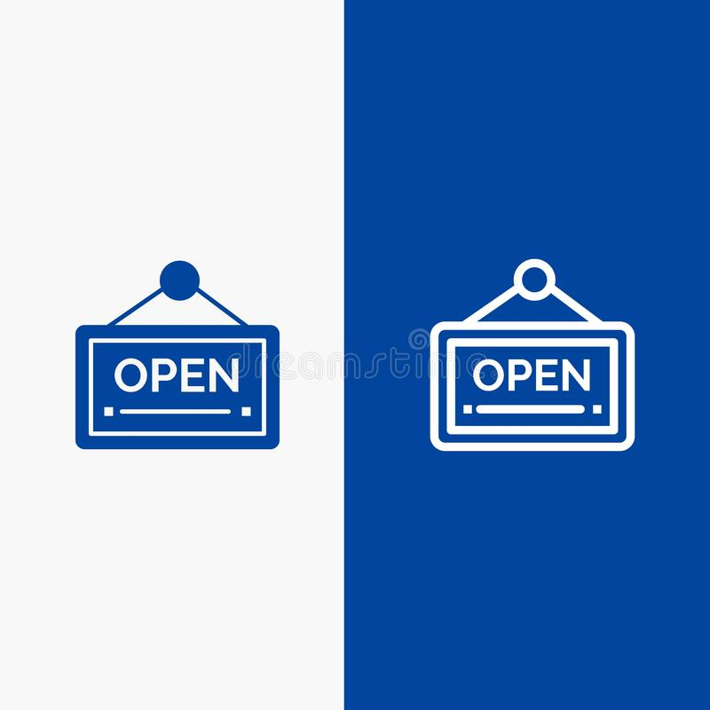 Open, Sign, Board, Hotel Line and Glyph Solid icon Blue banner Line and Glyph Solid icon Blue banner vector illustration
