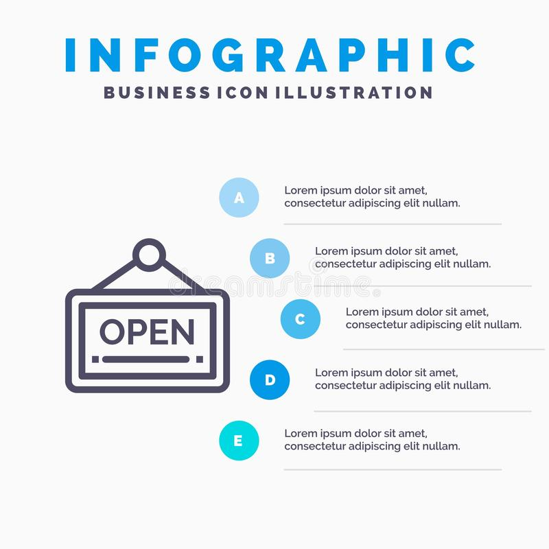 Open, Sign, Board, Hotel Line icon with 5 steps presentation infographics Background royalty free illustration
