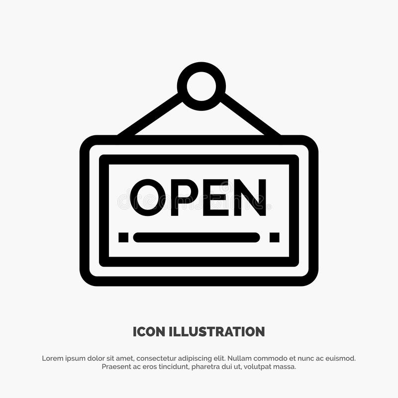 Open, Sign, Board, Hotel Line Icon Vector royalty free illustration