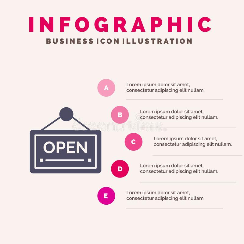 Open, Sign, Board, Hotel Solid Icon Infographics 5 Steps Presentation Background stock illustration