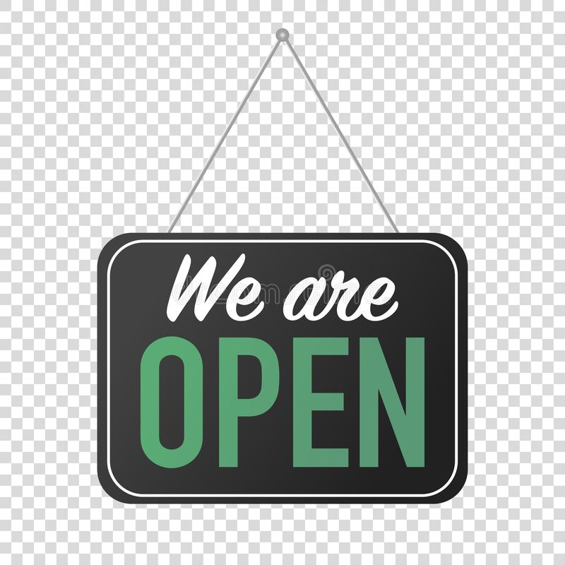 We are open sign for door posting. Vector stock illustration