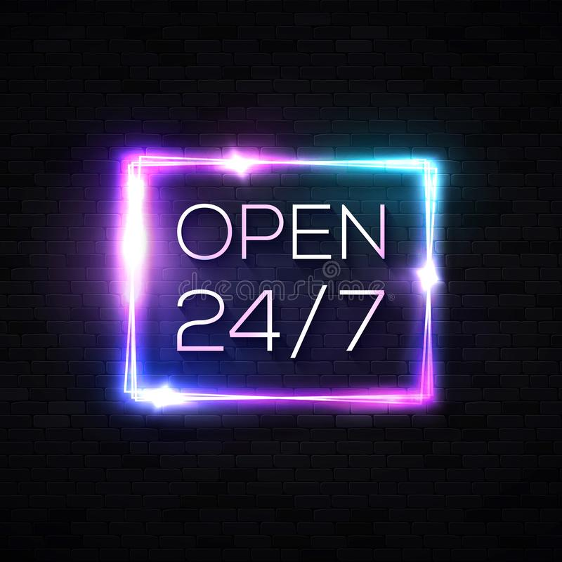Open sign. 24 hours 7 days a week. Neon signage. vector illustration