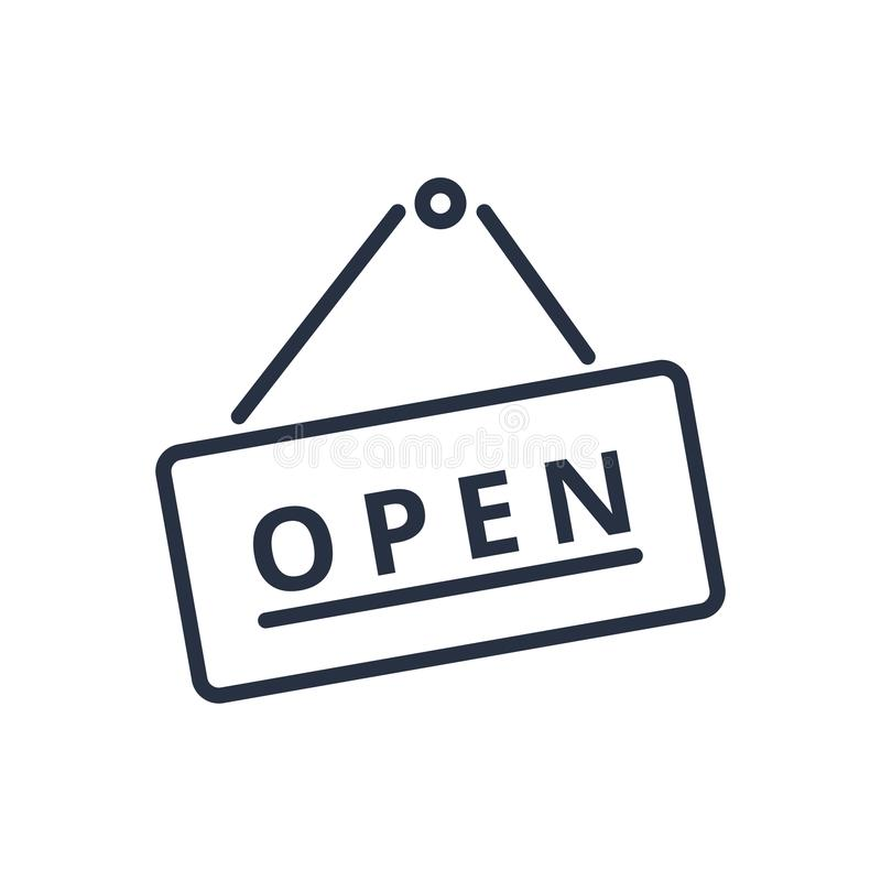 Open sign icon in trendy flat style. Board with text line icon. Business signboard hanging on a nail stock illustration