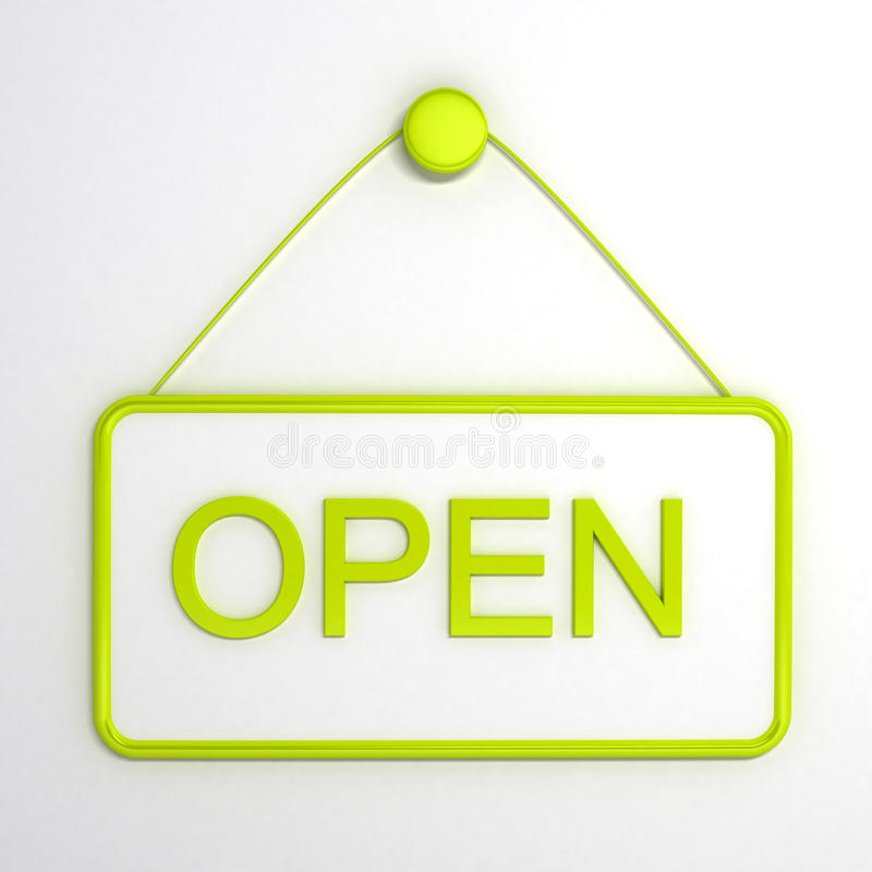 Open Sign Over White Background Stock Photography