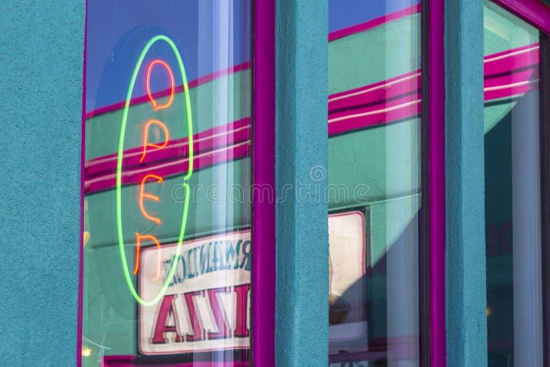 Open sign on Route 66, Kingman, Arizona, USA, America, United States, North America. Kingsman, USA - MAY 26, 2018: Open sign on Route 66, Kingman, Arizona, USA royalty free stock image