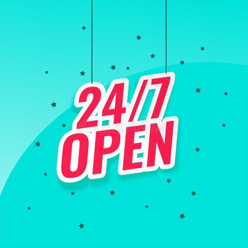 24/7 open signboard banner design. Vector stock illustration