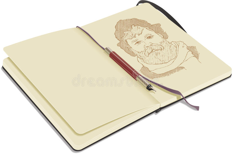 Download Open Sketchbook With Pen Royalty Free Stock Images - Image: 15074919
