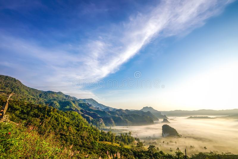 Open sky and foresty mountain below. Beautiful landscape big cloud on the open sky and foresty mountain below., Phayao Province, winter of Thailand royalty free stock image