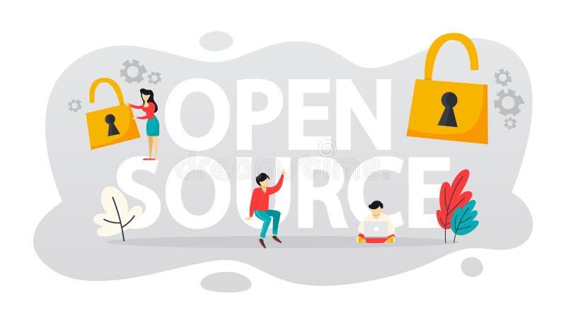 Open Source-concept Vrije software De download en installeert stock illustratie