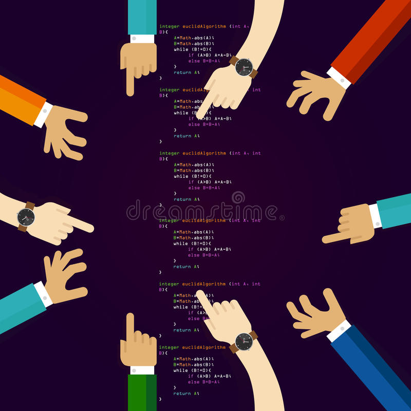 Open source software coding programming development together. many hands working together. concept of teamwork. Collaboration and participation vector stock illustration