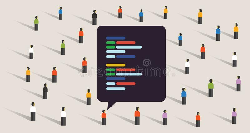 Open source software development coding collaboration crowd working royalty free illustration