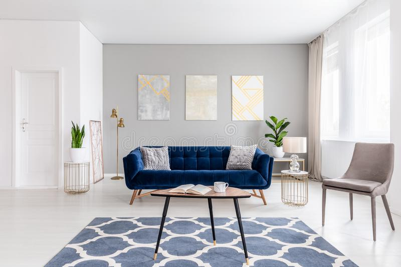 Open space living room interior with modern furniture of a navy blue settee, a beige armchair, a coffee table and other objects in. Gold color. Real photo stock photo