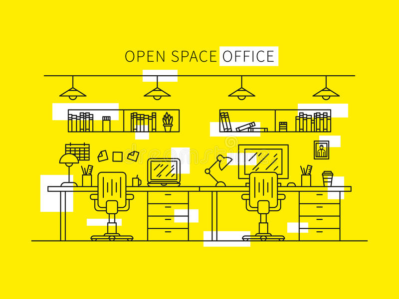 Open space office vector illustration. Professional working place creative concept. Minimal office space graphic design