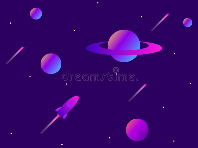 Open space. Planets, meteors and space rocket. Space exploration. Modern trend gradient. Vector vector illustration