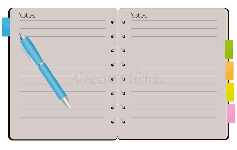 Open Spiraalvormig Notitieboekje vector illustratie