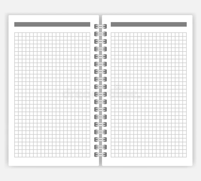 Open spiral bound notebook with squared pages vector mockup vector illustration