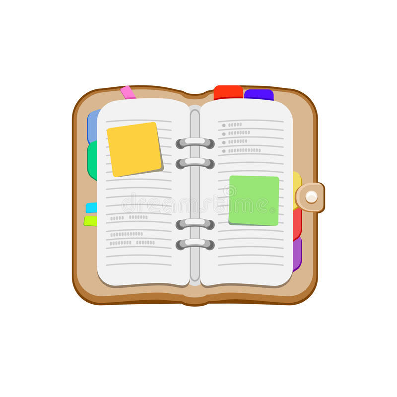 Open spiral diary, notebook or personal organizer. Notepad with stickers, bookmark. stock illustration