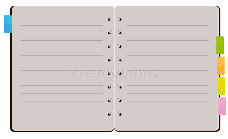 Open Spiral Notebook stock illustration