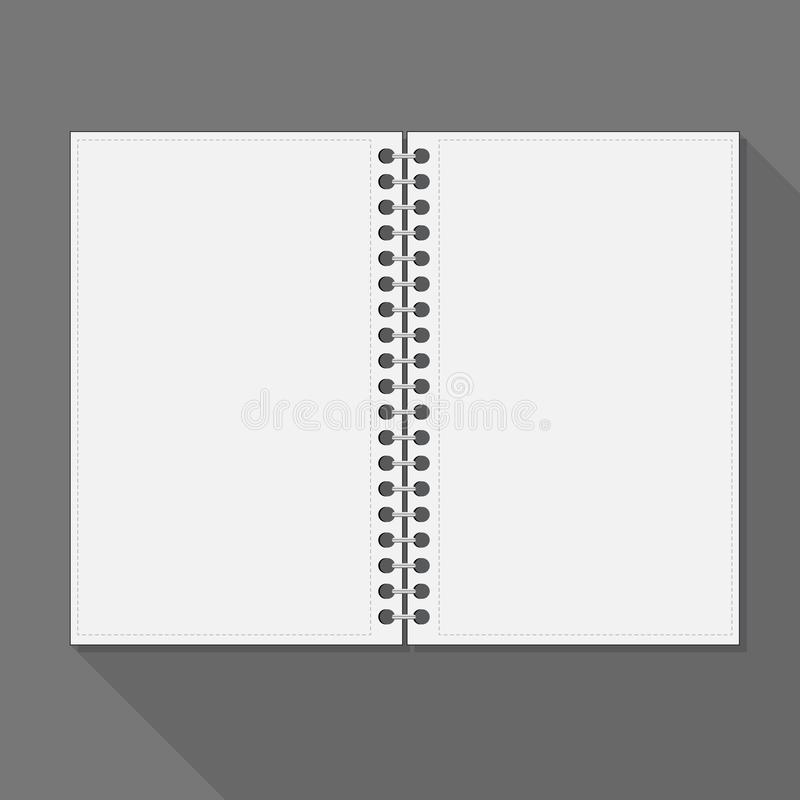 Open spiral notebook. Blank pages and shadow. Is a general illustration vector illustration