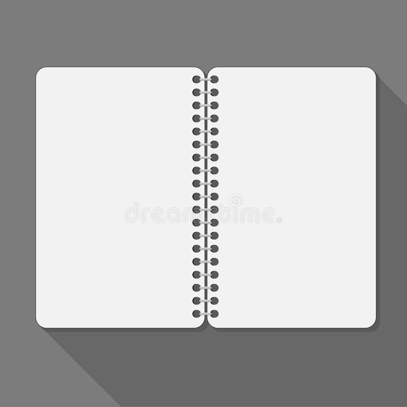 Open spiral notebook. Blank pages and shadow. Is a general illustration royalty free illustration