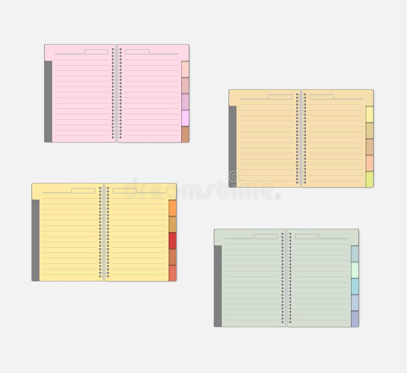 Open spiral notebook with color pages and tab dividers, mockup set. Wire bound multicolored lined note books with bookmarks, mock-up stock illustration