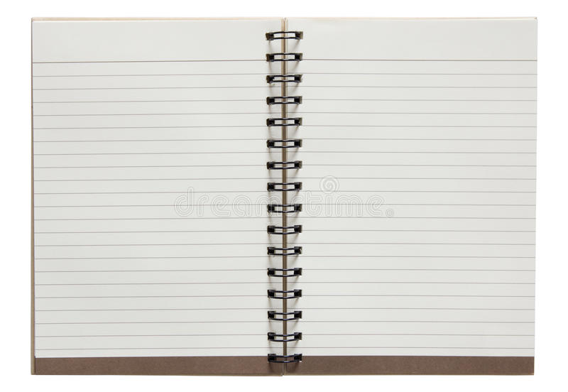 Open spiral notebook isolated on white background stock photography