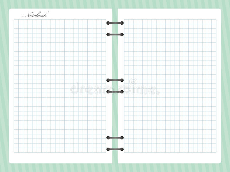 Open squared notepad notebook with spiral royalty free illustration