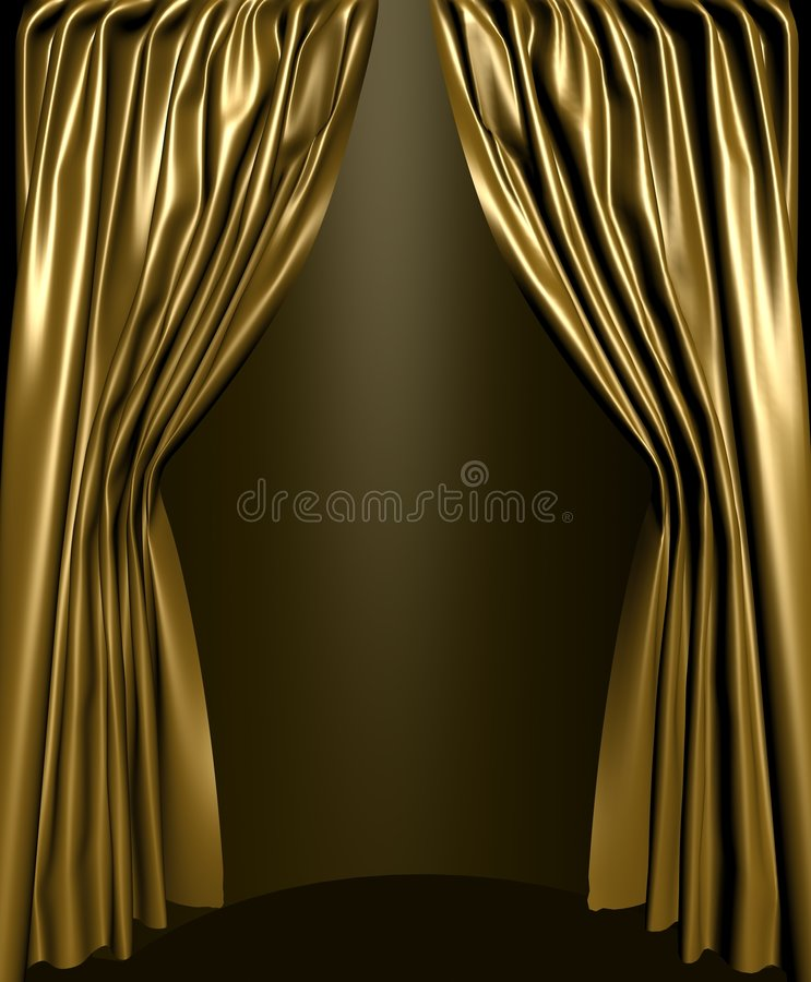 Open stage curtain stock illustration
