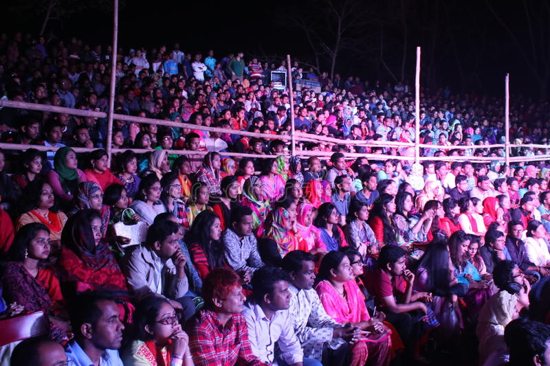 Open stage spectator in bangladesh royalty free stock image