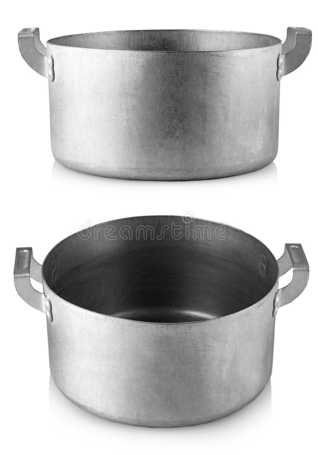 Open stainless steel cooking pot over white background royalty free stock image