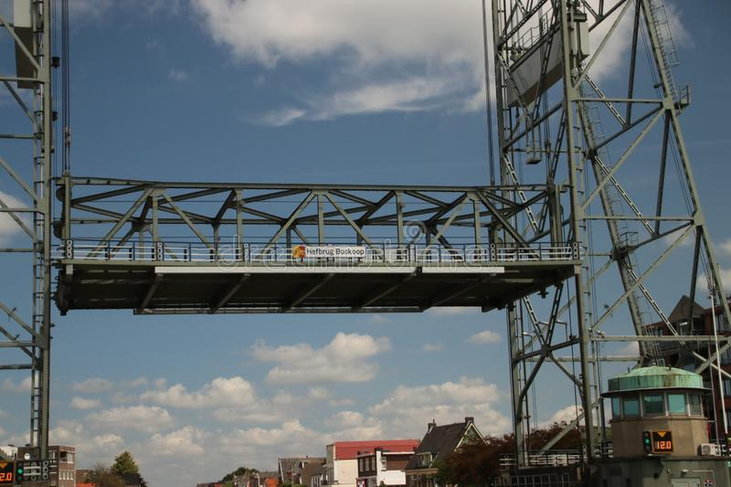 Steel vertical lifting bridge over the Gouwe Canal at Boskoop in the Netherlands, royalty free stock photo
