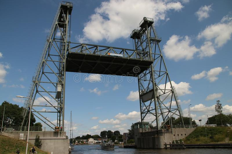 Steel vertical lifting bridge over the Gouwe Canal at Boskoop in the Netherlands, stock images