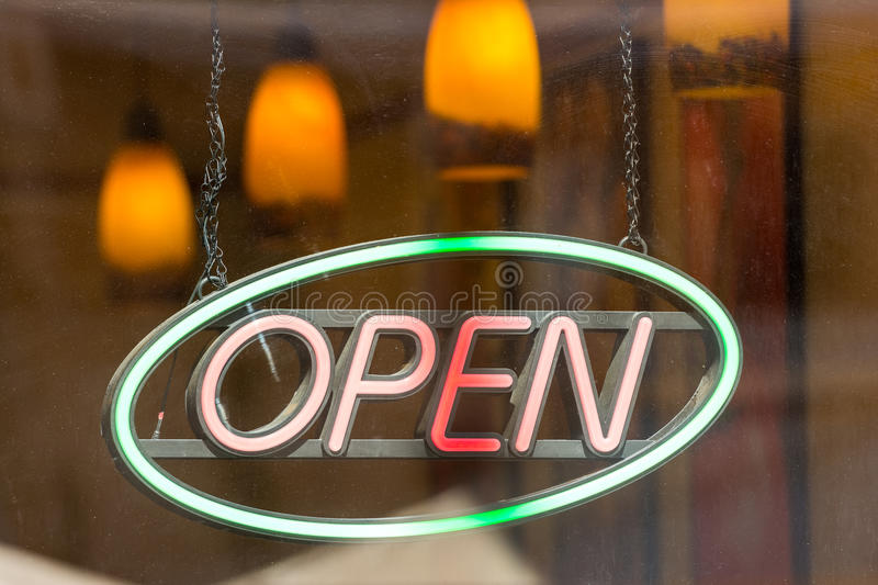 Open Store Sign. In Shop Window royalty free stock photography
