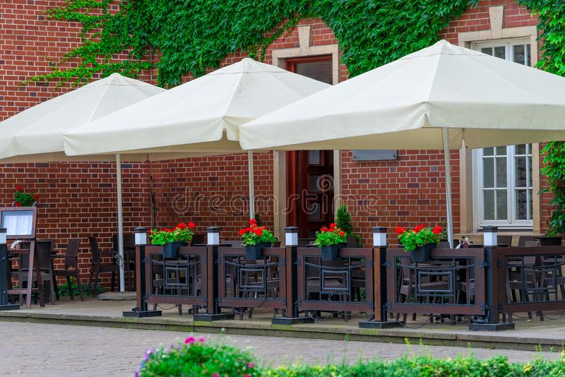 Open street cafe in city. Open street cafe in a European city stock photo