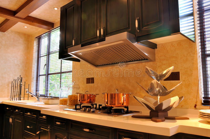 Open style kitchen with kitchware stock image