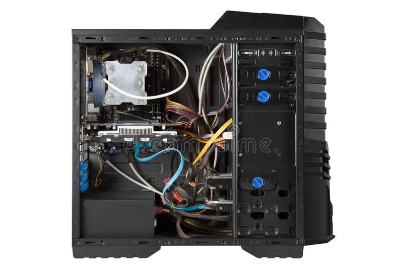 Open system unit isolated, computer case with side panel detached, letting you see all the gaming components inside, including gra. Phics card, CPU watercooler royalty free stock photography