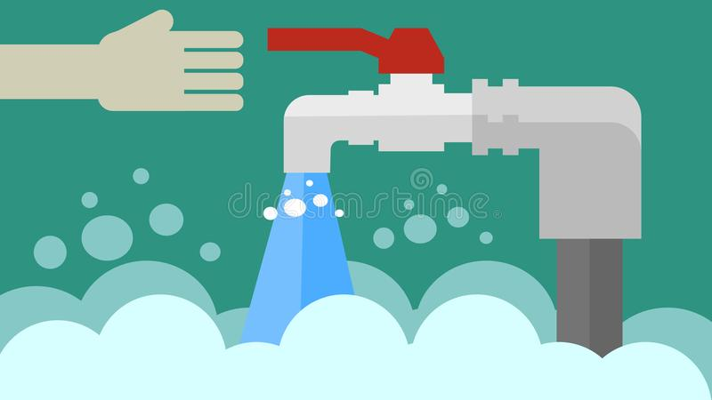 Open tap with water flow. Open tap with a load of water flow royalty free illustration