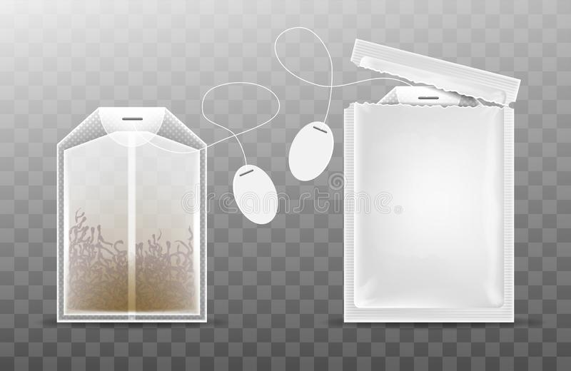 Open tea packaging and tea bag isolated on a transparent background. Realistic vector illustration royalty free illustration